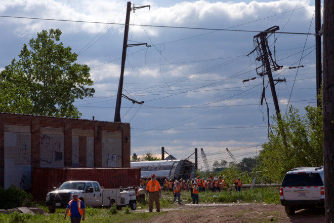 The scene in Frankford this morning: just out of frame, an idle oil train sits next to the wreckage of last night's Amtrak Train 188 | Photo: Bradley Maule