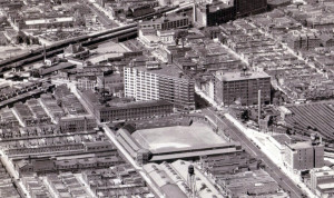 Birdseye view of the Phillies' Baker Bowl and the surrounding blocks, 1931 | Image: Dallin Aerial Survey Company, Hagley Digital Archives