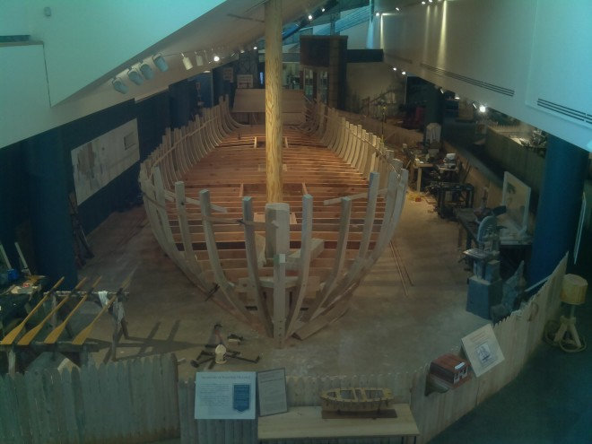 Still from webcam tracking the schooner's reconstruction | Photo: Independence Seaport Museum