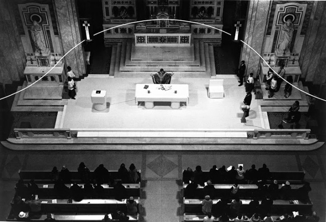 The cathode neon light and altar design by Venturi Scott Brown| Courtesy of The Architectural Archives of the University of Pennsylvania