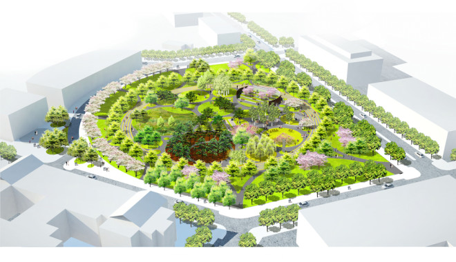 A rendering of the Navy Yard's Central Green Park
