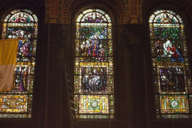 Stained glass depicting the life of St. Francis de Sales.
