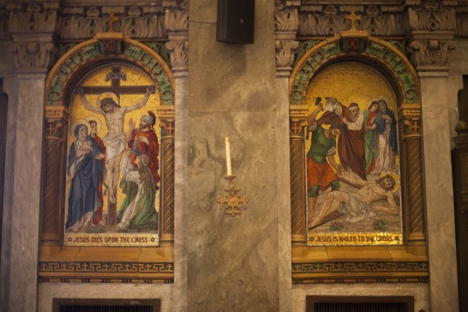 Mosaic depicting stations of the cross.