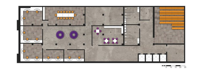 Lower Level: 1. Workspaces   2. Conference Room   3. Photography Studio   4. Kitchenette   5. Restrooms   6. Control Room/Storage   7. Theater   8. Fire Stair