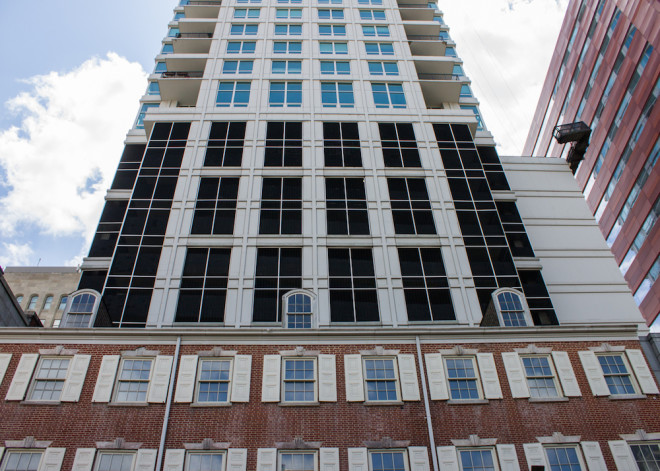 St. James residential tower rises from the ghostly façade of York Row   Photo: Michael Bixler