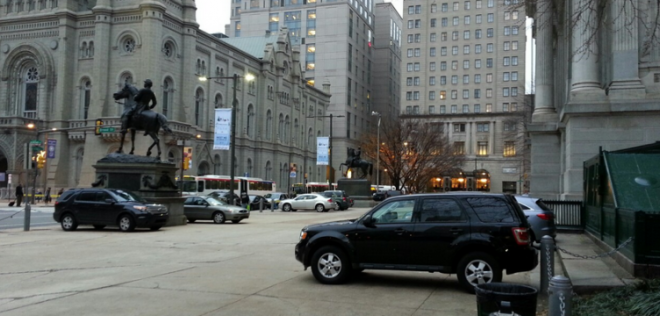 The City Hall Parking Lot this winter | Photo: Plan Philly