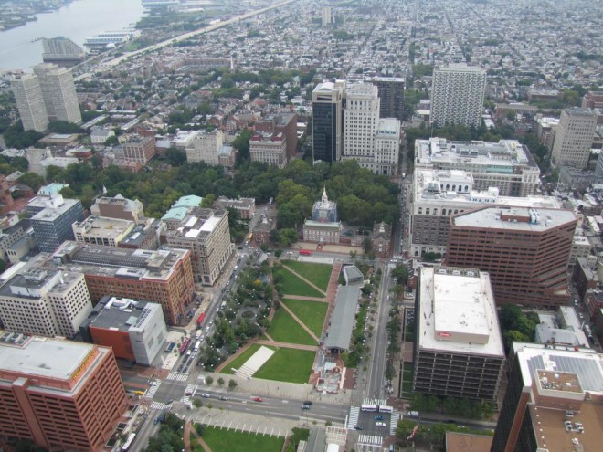 An aerial shot of Independence Mall | Photo: Peter Van Allen, for the Philadelphia Business Journal