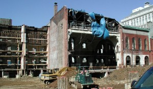 York Row and PSFS west wing demolition, 2002   Photo by Cary Cuper. Source: PAB Collection, Athenaeum of Philadelphia