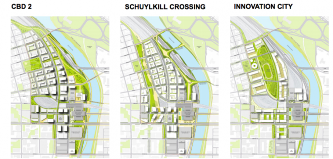 The three conceptual diagrams to be shown to the public Wednesday night during an open house.