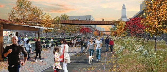 Phase 2: At Community College of Philadelphia, looking east | Rendering: Friends of the Rail Park