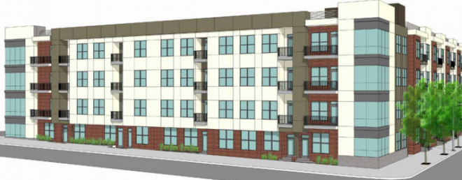 Rendering for proposed 216-unit apartment complex in Old City