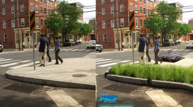 """Green City, Clean Waters is Philadelphia's plan to reduce storm water pollution now entering the sewer system through the use if green infrastructure."" Images via phillywatersheds.org"