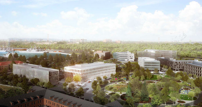 """Rendering of a building by [Danish firm] Bjarke Ingels Group [BIG] at the Navy Yard."""