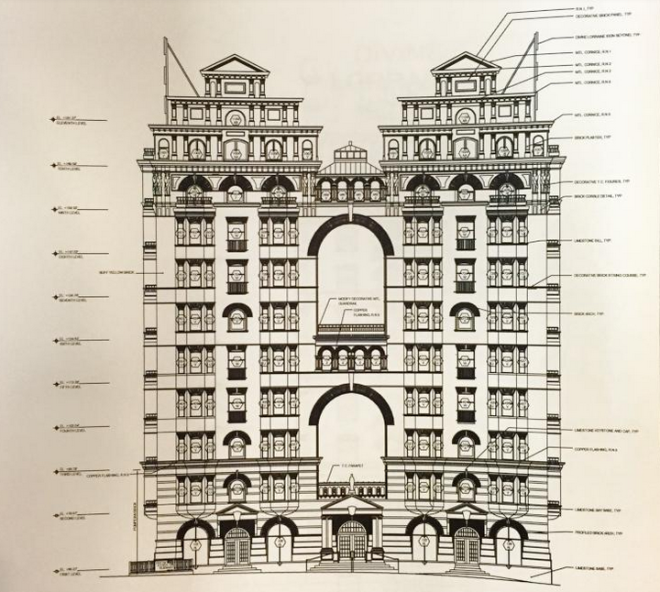 Rendering of the Divine Lorraine Facade | Alesker & Dundon Architects
