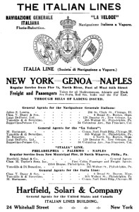 Advertisement for the Italia Line | From the 1914 Exporters' Encyclopaedia, Volume 10.