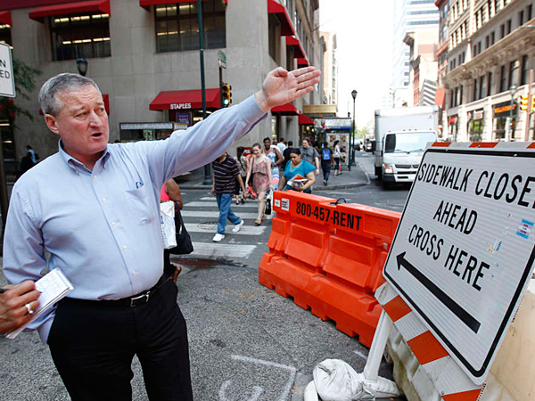 """Jim Kenney at 15th and Chestnut Streets. He has long denounced sidewalk closures at construction sites across the city."" 