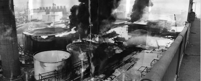 Gulf Oil refinery fire as seen from the Pennrose Avenue bridge 1975