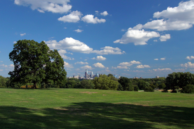 A summertime view of the Philadelphia skyline, from Belmont Plateau | Photo: Bradley Maule