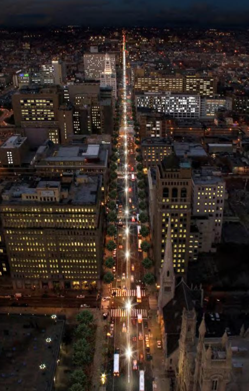 Rendering of North Broad Street lit by a series of 41 light masts from Spring & Fall Lighting Expected For North Broad Light Masts | Hidden City ...
