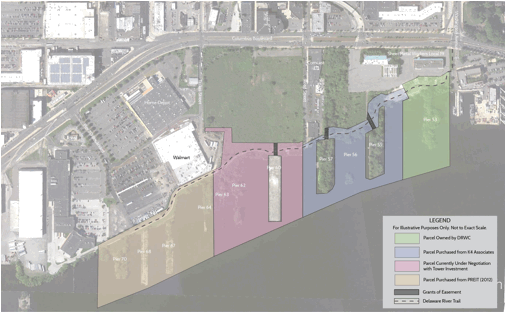 As of August 24, the Delaware River Waterfront Corporation only needs Bart Blatstein's parcel, highlighted here in pink.