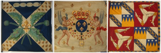 Flag from Rodman Wanamaker Flag Collection. From left: Flag of the 1st Royal Scots regiment, Flag of the Kingdom of France, Flag of the Isle of Man | Images courtesy of the Flag Heritage Foundation
