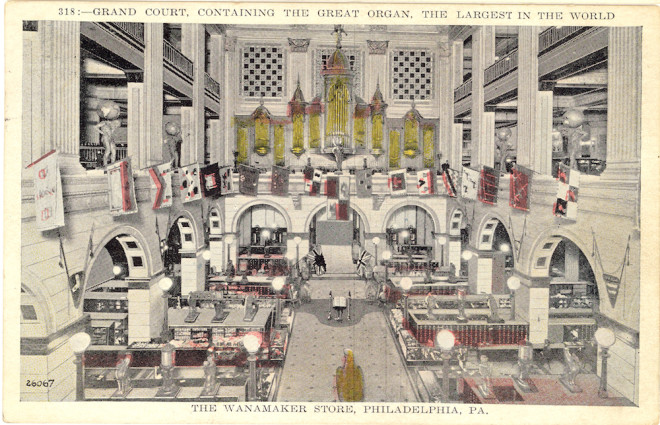 Postcard of the Grand Court with Atlases | Courtesy of the Friends of the Wanamaker Organ