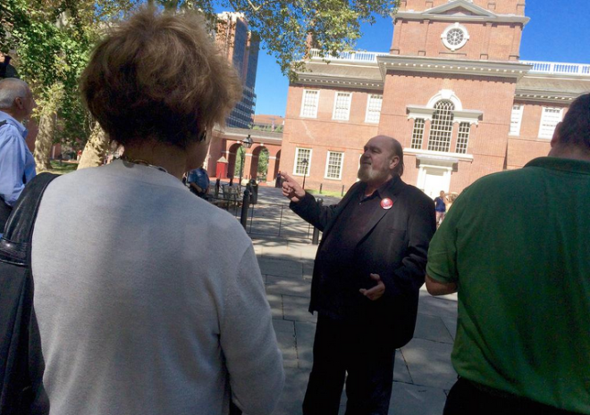 """Ed Mauger of the Association of Philadelphia Tour Guides leads a practice run of the tour that will be available to the thousands of media members in town next week for the World Meeting of Families and papal visit."" 
