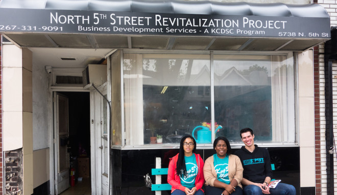 North 5th Street Revitalization Project's staff Sabrina Lomax, Stephanie Michel, and Philip Green | Photo: Theresa Stigale