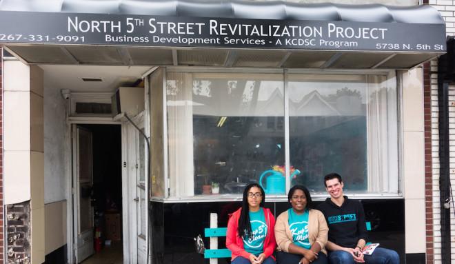 North 5th Street Revitalization Project's staff Sabrina Lomax, Stephanie Michel, and Philip Green | Photo: Theresa Stigale
