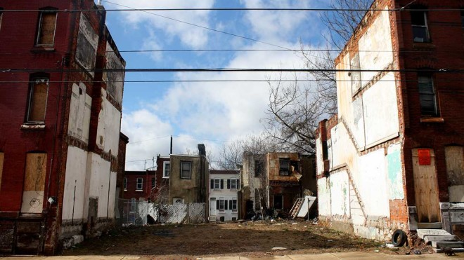 """Vacant lots on the 2100 block of North 9th Street in Philadelphia, near Temple University. Eighty percent of the block's properties are tax-delinquent."" 