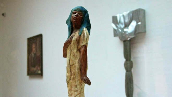 """""""A statuette by Meta Vaux Warrick Fuller (1914) is juxtaposed with Barbara Chasea-Riboud's Time Womb (1970) in the Woodmere Art Museum's look at black artists in Philadelphia."""" 