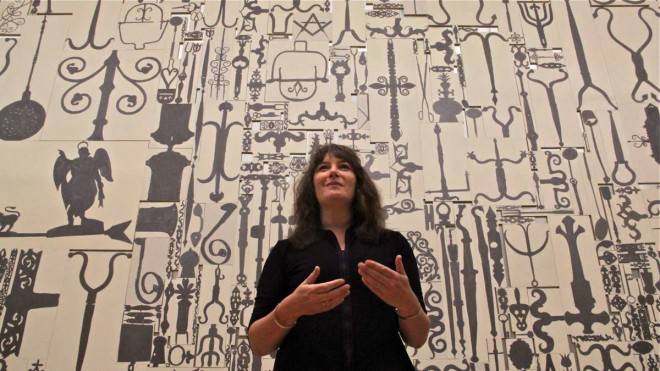 """Artist Ellen Harvey painted each of the Barnes' 887 pieces of metalwork for monumental collage, Metal Painting."" 