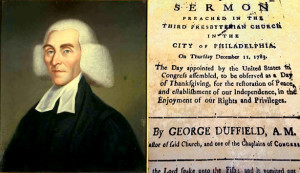 "LLeft: Portrait of Reverend George Duffield by Charles Wilson Peale, National Portrait Gallery | Right: Duffield's ""Thanksgiving (for peace)"" sermon"