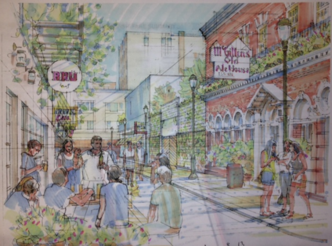 Rendering of a remade 1300 block of Drury Street, 2013