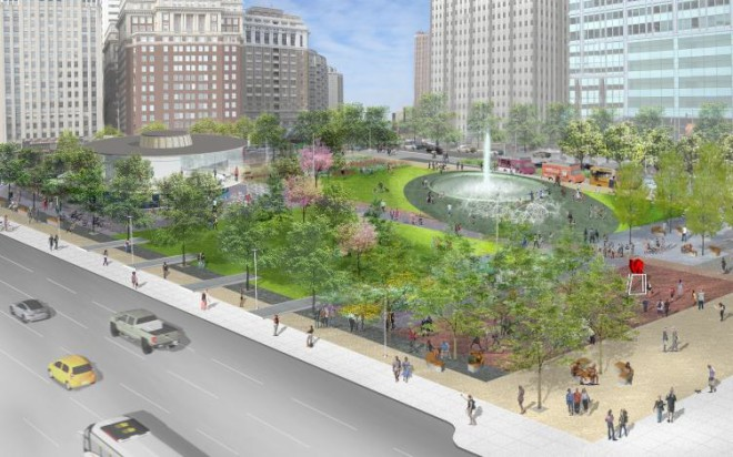 Rendering of LOVE Park redesign proposal, facing northwest | Hargreaves Associates