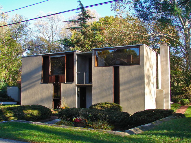 """""""The Esherick House designed by Louis Kahn. Located at 204 Sunrise Lane, in the Chestnut Hill neighborhood of Philadelphia, about a block from Pastorious Park"""" 