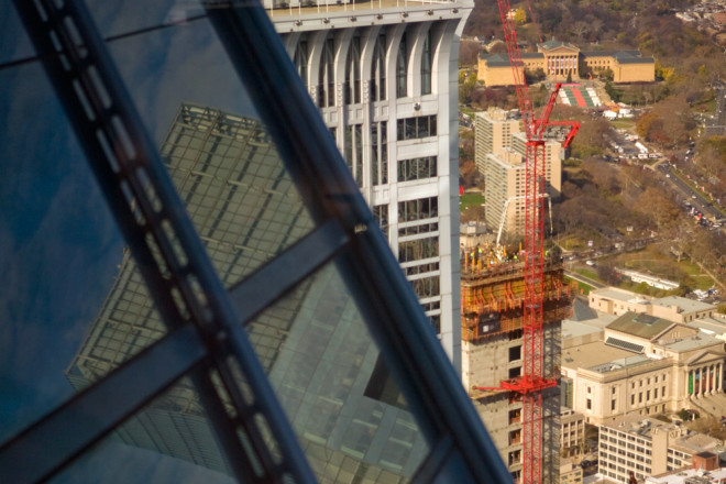 Philly Skyline abstractions: Comcast Innovation & Technology Center rises toward the new crown, while current tallest Comcast Center reflects in its immediate predecessor, One Liberty | Photo: Bradley Maule