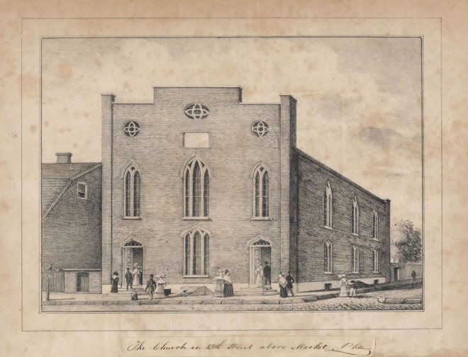 Another view of the Vow Church, c.1832 | From the Library Company of Philadelphia, www.librarycompany.org.