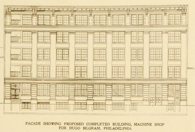 Plan for Completed Building | Source: Ballinger & Perrot Formerly Hales & Ballinger. Members of the American Institute of Architects. Architects and Engineers for Manufacturing and Power Plants Specialists in the Designing of Reinforced Concrete Fireproof Buildings , G.M.S. Armstrong, Philadelphia, 1905