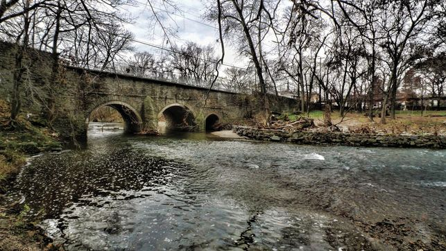Pennypack Creek (aka Frank­ford Ave) Bridge, April, 2012 | Photo: Fred Moore