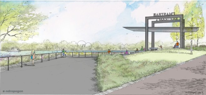 Andropogon Associates ' rendering of Bartram's Mile, to be ready for joggers sometime in 2017