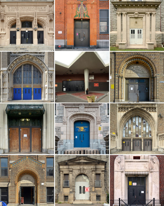 School doors grid, facing page: Top row, (l to r) West Philadelphia High School (closed), Spring Garden School #2, Thomas Dunlap Elementary School (closed, residential re-use) Second row: Helen Fleisher Vocational School (most recently Philadelphia High School for Business), Strawberry Mansion High School, Ethan Allen School Third row: Edward Bok Vocational School (closed), Southwark School K-8, Thomas Fitzsimons Junior High School (closed) Fourth row: Thaddeus Stevens School of Practice (closed, future residential), Rudolph S. Walton Elementary School (closed), George Washington Public School (now Vare-Washington Elementary School)