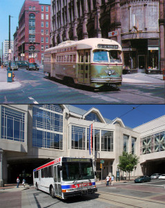 "Long before and somewhat recent: on top, a 1970 postcard (published by Parlor Car Enterprises, photo by Henry Butz) shows the Route 23 trolley at 12th & Arch; the photo below shows the same intersection in 2008 with the Pennsylvania Convention Center; an ""after"" photo will now show Routes 23 and 45 overlapping"