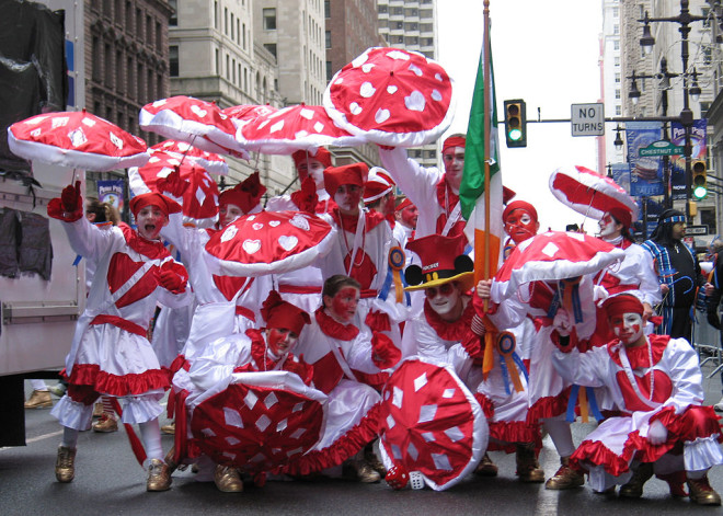 """A few members of the Holy Rollers N.Y.B. in the 2008 parade presenting their theme 'Our Hearts are Wild for Diamonds'"" 