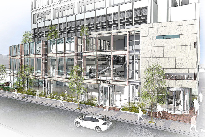 """A rendering for the three-story addition to 1700 Market. The addition will fill in the existing plaza at 17th and Market with a small building housing three restaurants."" 