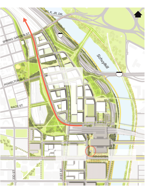 An Inquirer graphic depicting the proposed redevelopment of the railyards north of 30th Street Station