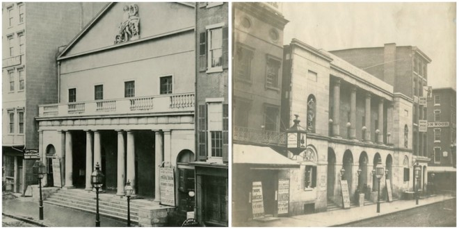 At left, Arch Street Theater (613 Arch Street) Built in 1828, demolished in 1936. At right, Second Chestnut Street Theater (603-609 Chestnut Street) built in 1822, destroyed by fire in 1856 | Photos courtesy of The Free Library of Philadelphia and Athenaeum of Philadelphia