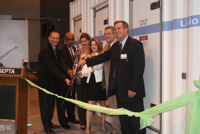 The 2012 ribbon cutting to the Letterly Substation battery in Kensington | Photo courtesy of SEPTA