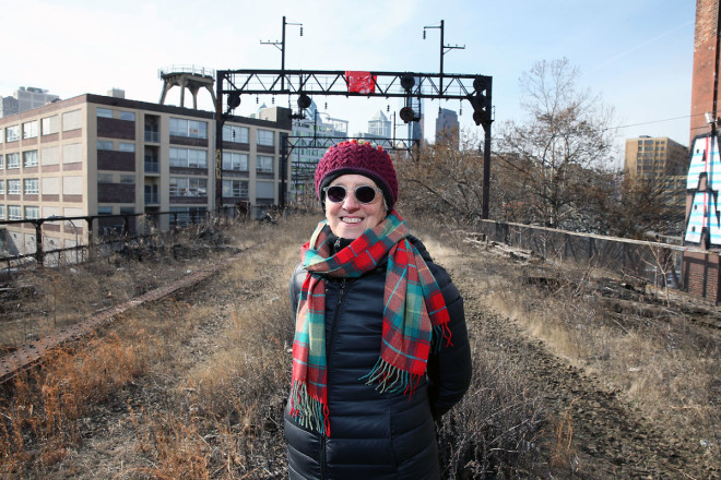 """Sarah McEneaney at the site of what will become the Viaduct Rail Park."" 