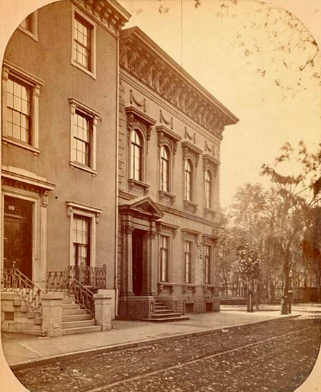A view of 1724 Walnut Street (standing from c.1850-1929), looking west towards Rittenhouse Square